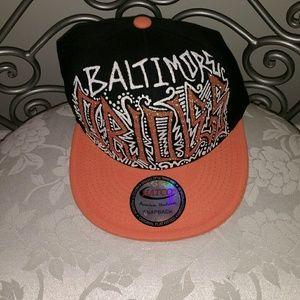 Baltimore Orioles glitter graffiti baseball cap